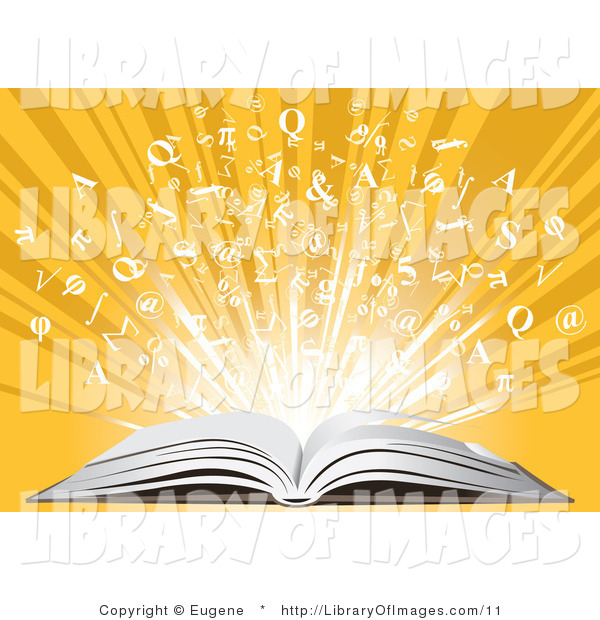 Clip Art of an Open Book and Letters