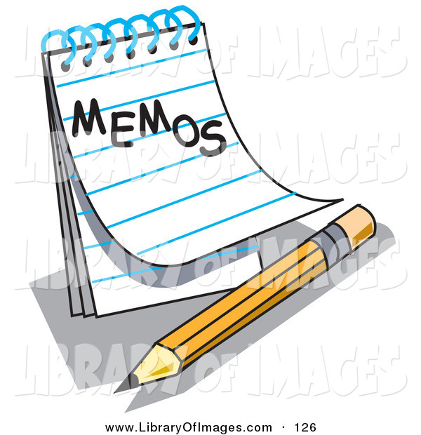 "Clip Art of an Open Notepad with Lined Pages with ""Memos"" Written on the Front, Resting by a Yellow Number Two Pencil with an Eraser"