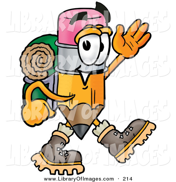 Clip Art of an Outdoorsy Pencil Mascot Cartoon Character Hiking and Carrying a Backpack