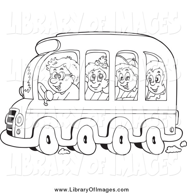 Clip Art of Black and White Kids on a School Bus