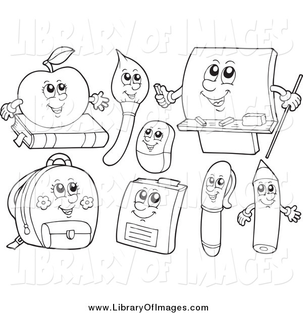 Clip Art of Black and White School Item Characters