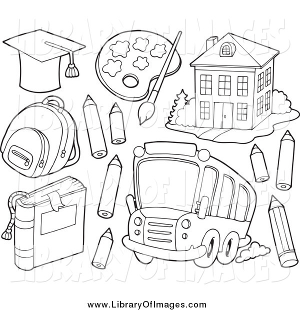 Clip Art of Black and White School Items a Bus and Building