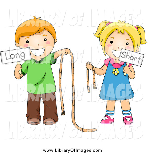 Clip Art of Caucasian School Kids Holding Long and Short Ropes and Signs