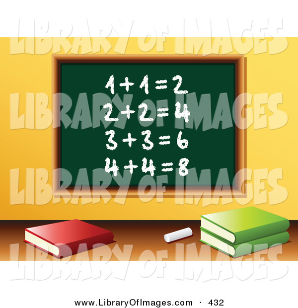 Clip Art of Chalk and Three School Books in Front of a Green Chalkboard with Solved Addition Written on It in a Math Class Room