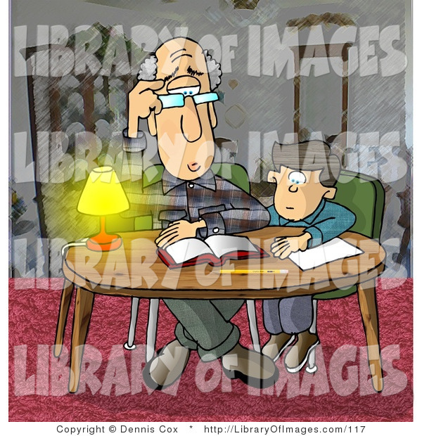 Clip Art of Confused Grandpa Helping a Kid with Homework