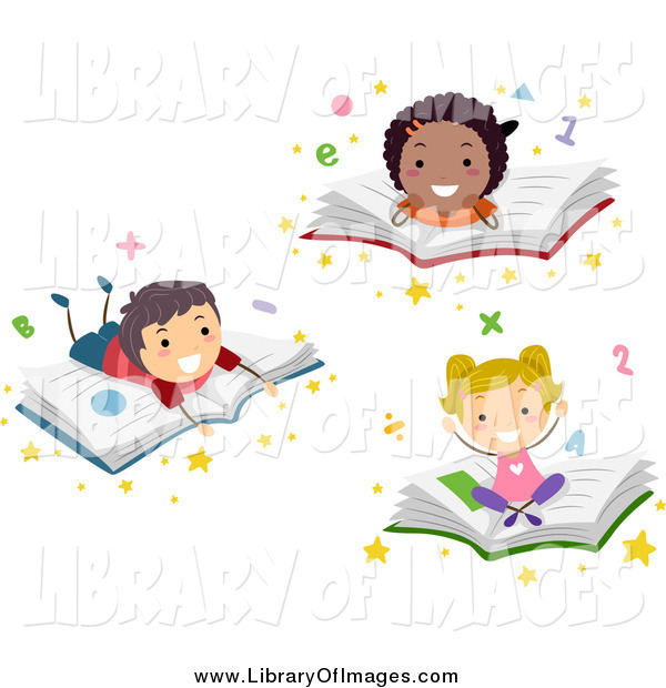 Clip Art of Diverse School Children Resting on Books