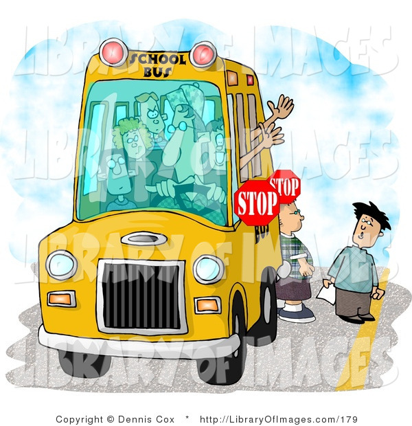 Clip Art of Elementary School Children Waiting for a Bus Driver to Signal Them the Ok to Cross the Street