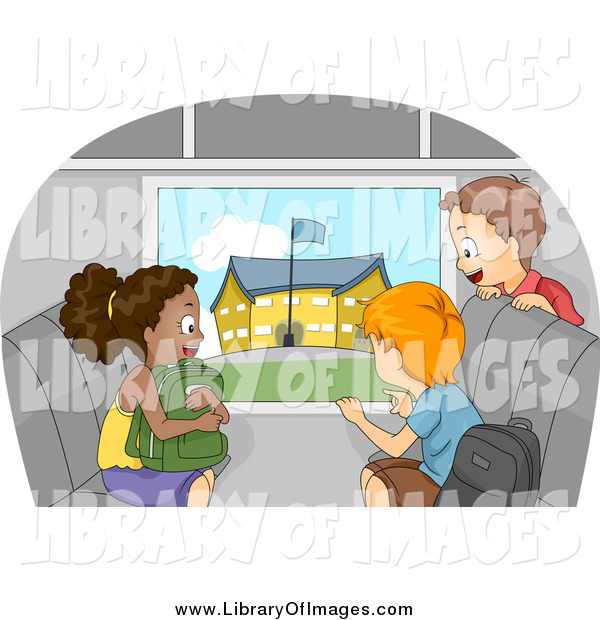 Clip Art of Excited Kids Viewing a School from a Bus Window