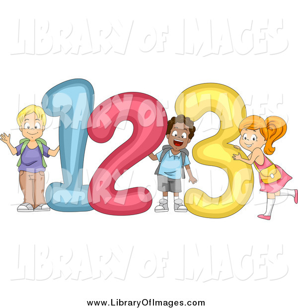 Clip Art of Happy Diverse School Children with Giant 123 Numbers