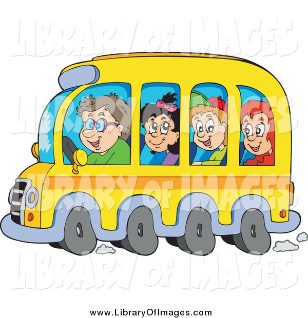 Clip Art of Happy School Children and Driver on a Bus