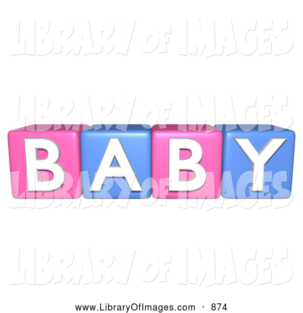 Clip Art of Pink and Blue 3d Alphabet Blocks Spelling BABY