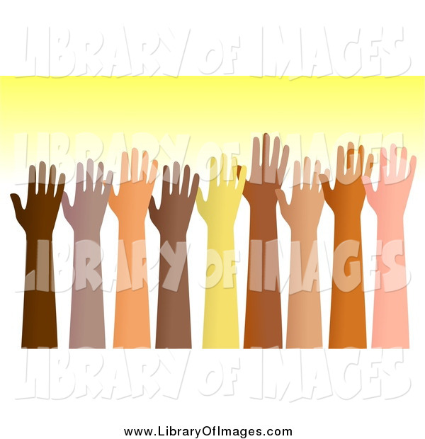 Clip Art of Raised Diverse Hands over Yellow