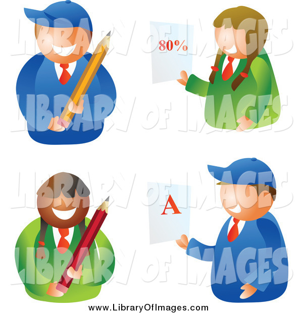 Clip Art of School Boys and Girls Holding Pencils and Report Cards