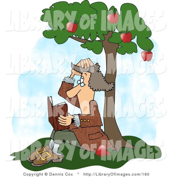 Clip Art of Sir Isaac Newton Sitting Under an Apple Tree, Getting Hit on the Head with an Apple