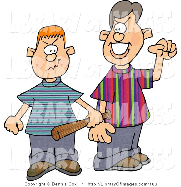Clip Art of Two Male Bullies Picking a Fight