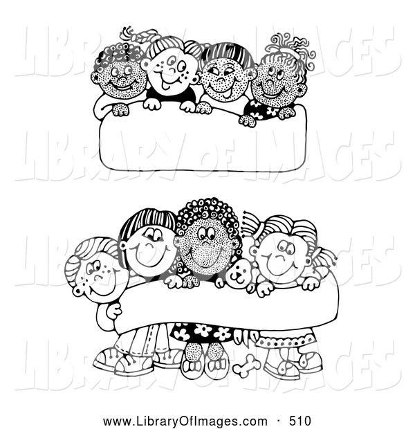 Clip Art of Two Scenes of Diverse Children Holding up Blank Signs and Banners, on White