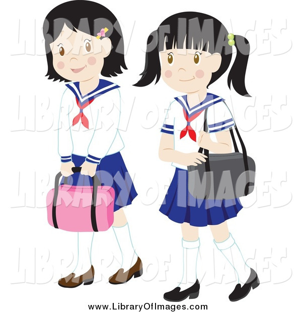 Clip Art of Two School Girls in Uniforms