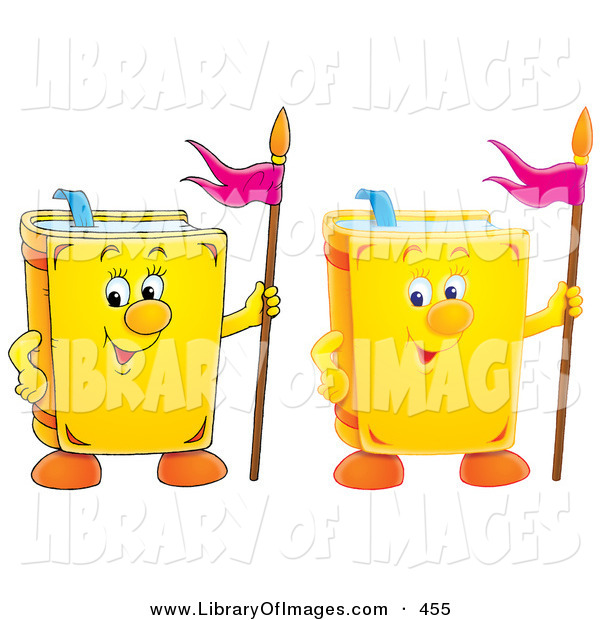 Clip Art of Two Smiling Yellow School Books with Flags