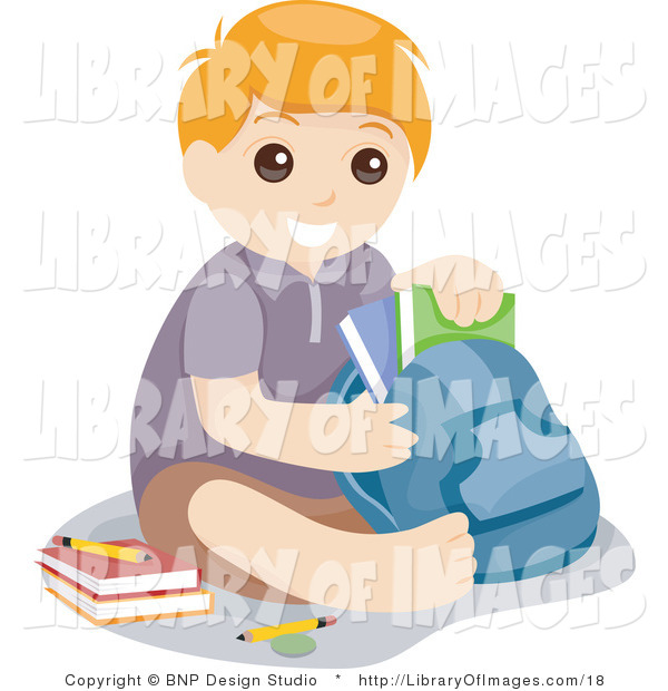 Vector Clip Art of a Young School Boy Taking School Books out of His Backpack