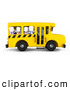 Clip Art of 3d Kids Waving on a School Bus by BNP Design Studio