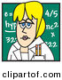 Clip Art of a Blond Caucasian Female Teacher Standing in Front of a Chalkboard in a Classroom by Andy Nortnik