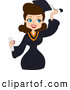 Clip Art of a Brunette Graduate Woman Grabbing Her Tassel by BNP Design Studio