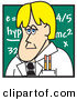 Clip Art of a Caucasian Blond Male Teacher Standing in Front of a Chalkboard in a School Classroom by Andy Nortnik