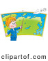 Clip Art of a Cheerful Smart Little Boy Pointing to a Location on a Map in Geography Class, a Paper Airplane Flying Above by Alex Bannykh