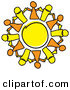 Clip Art of a Circle of Orange and Yellow Guys Holding Hands, Symbolizing Teamwork and Support by Andy Nortnik