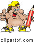 Clip Art of a Cool Outgoing Echidna Kid Wearing Shoes and a Hat and Holding a Pencil by Dennis Holmes Designs