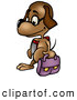 Clip Art of a Cute Dog Student Wearing Glasses and Walking with a Bag and School Book by Dero