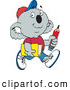 Clip Art of a Cute Koala School Boy Carrying a Pencil and Book by Dennis Holmes Designs