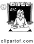 Clip Art of a Friendly Female Teacher Reading a Book at Her Desk in a Class Room, on White by LoopyLand