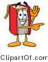 Clip Art of a Friendly Red Book Mascot Cartoon Character Waving and Pointing by Toons4Biz