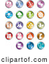 Clip Art of a Group of Colorful Entertainment and Business Buttons by Alexia Lougiaki