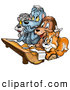 Clip Art of a Group of Friends - a Squirrel, Dog and Bears at a Wood Log Desk in a Class Room at School by Dero