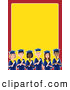 Clip Art of a Group of Various Diverse Male and Female Students Graduating, on a Red and Yellow Stationery Background by Maria Bell
