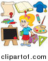 Clip Art of a Happy Blond White School Girl and Items by Visekart