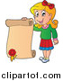 Clip Art of a Happy Blond White School Girl Holding a Certificate by Visekart