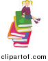 Clip Art of a Happy Blond White School Girl Sitting on a Stack of Large Books by Prawny
