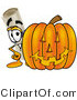 Clip Art of a Happy Diploma Mascot Cartoon Character with a Carved Halloween Pumpkin by Toons4Biz