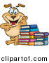 Clip Art of a Happy Dog Leaning on a Stack of Books by Dennis Holmes Designs