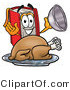 Clip Art of a Happy Red Book Mascot Cartoon Character Serving a Thanksgiving Turkey on a Platter by Toons4Biz
