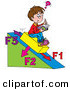 Clip Art of a Happy School Boy Sitting on a Slanted Triangle, Doing His Math Homework by Alex Bannykh