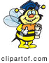 Clip Art of a Happy Smart Bumble Bee Character Wearing a Graduation Cap and Holding a Diploma by Dennis Holmes Designs