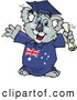 Clip Art of a Happy Smart Graduating Koala in an Aussie Gown, Holding a Diploma by Dennis Holmes Designs