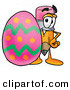 Clip Art of a Happy Yellow Pencil Mascot Cartoon Character Standing Beside an Easter Egg by Toons4Biz