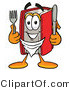 Clip Art of a Hungry Red Book Mascot Cartoon Character Holding a Knife and Fork by Toons4Biz