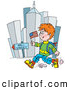 Clip Art of a Patriotic School Boy Running down Wall Street with a Flag by Alex Bannykh