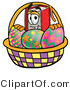 Clip Art of a Red Book Mascot Cartoon Character in an Easter Basket Full of Painted Easter Eggs by Toons4Biz